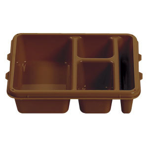 """Cambro 9113CP167 9"""" x 11"""" Brown 3 Compartment Meal Delivery Tray - 24/Case"""