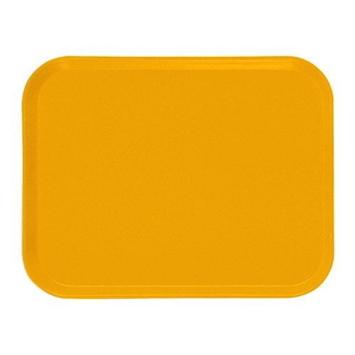 "Cambro 1622504 16"" x 22"" Rectangular Mustard Customizable Fiberglass Camtray - 12/Case"