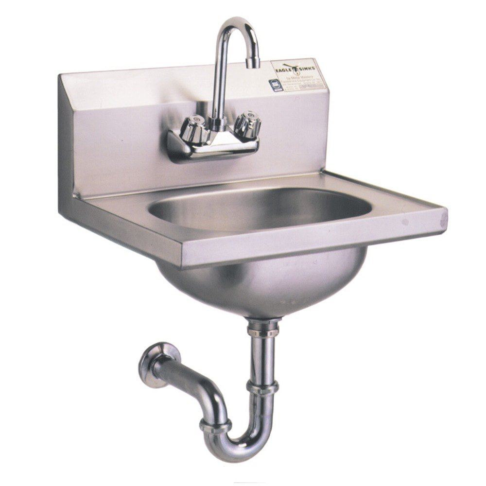 Sink With Faucet : ... Hand Sink with Gooseneck Faucet, P-Trap, Tail Piece, and Basket Drain
