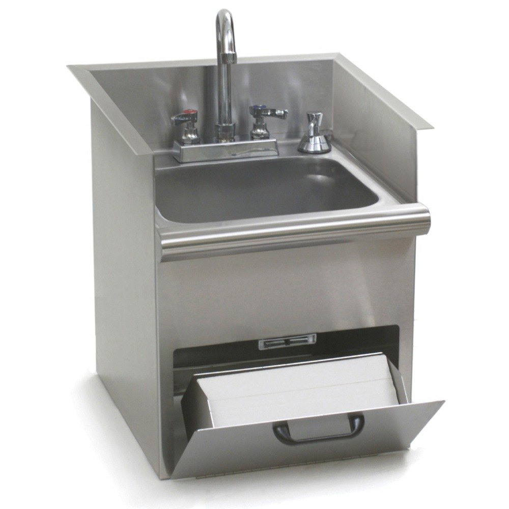 Eagle Group Hwb E Drop In Hand Wash Sink With Encore Gooseneck Faucet Built In Towel Dispenser