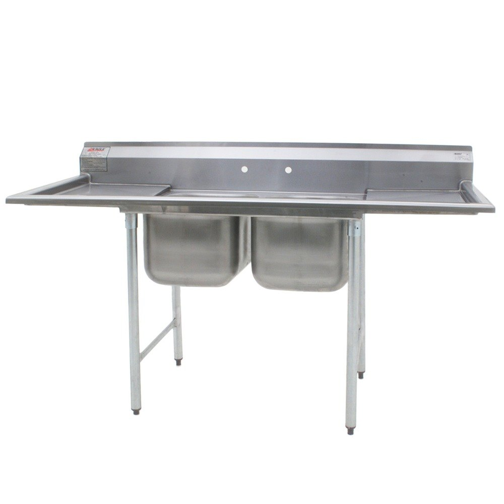 Stainless Steel Sinks With Drainboards : ... Stainless Steel Commercial Sink with Two Drainboards - 96 1/2