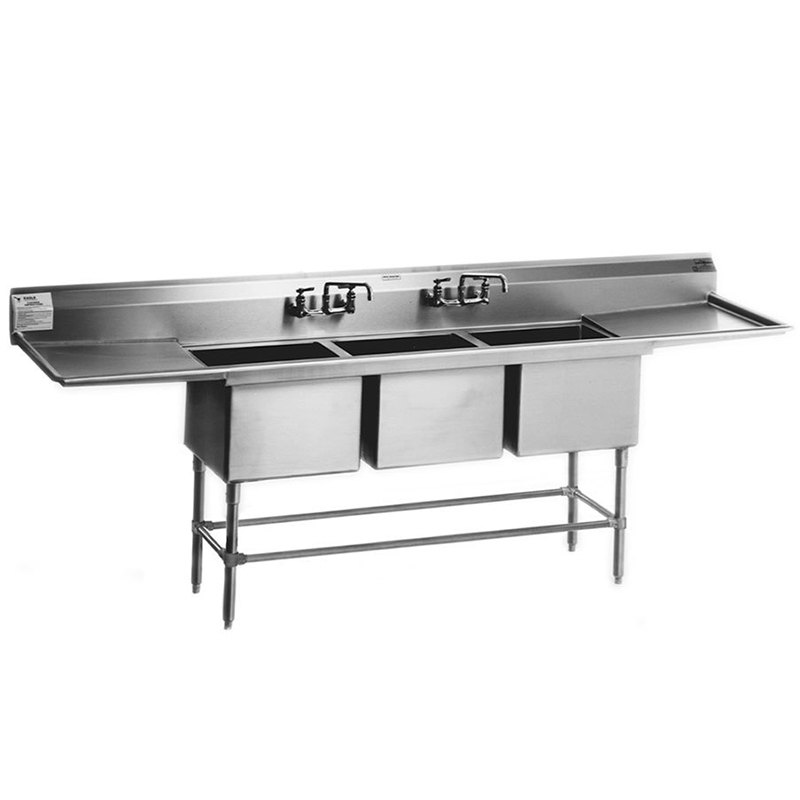 """Eagle Group FN2048-3-18-14/3 Three 20"""" x 16"""" Bowl Stainless Steel Spec-Master Commercial Compartment Sink with 18"""" Drainboard"""