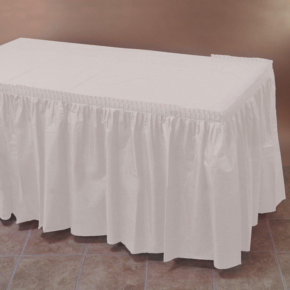 White plastic table skirt 14 39 x 29 for Table skirting