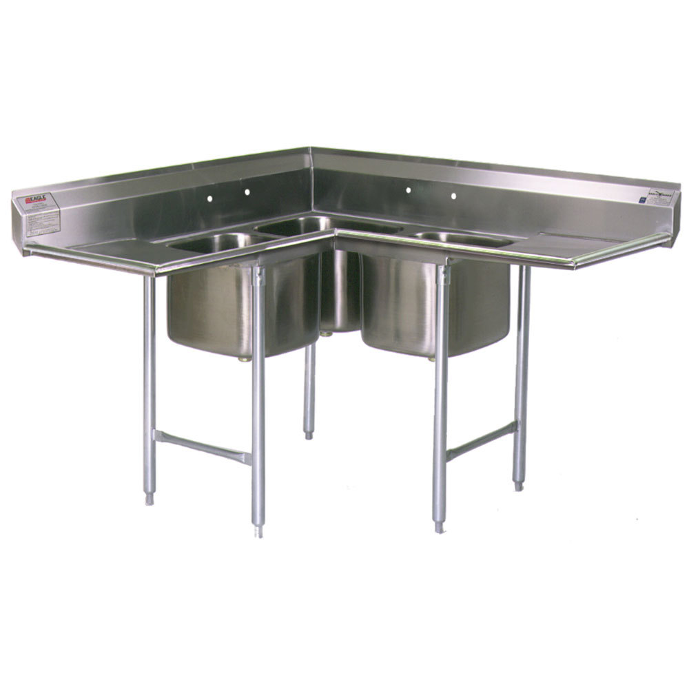 ... Stainless Steel Commercial Corner Compartment Sink with Two 12