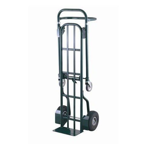 """Harper DTT18648A 2-Position 800 lb. Convertible Hand / Platform Truck with 10"""" x 2"""" Solid Rubber Wheels and 5"""" Urethane Casters"""