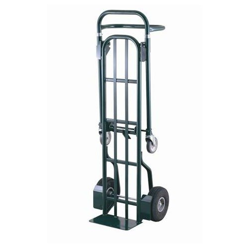 """Harper HDTT6448 2-Position 800 lb. Heavy Duty Convertible Hand / Platform Truck with 10"""" x 2 1/2"""" Solid Rubber Wheels and 5"""" Urethane Casters"""