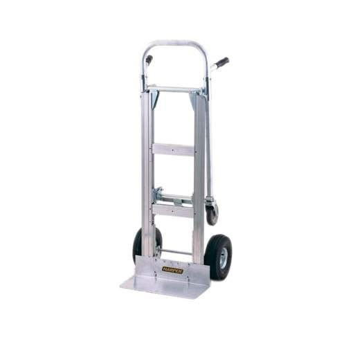 "Harper GWJDT2J6045 Dual Pin Handle Wide Body Junior Aluminum Hand Truck / Platform Truck 1000 lb. with 10"" x 2 1/2"" Solid Rubber Wheels"
