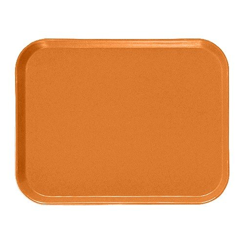 "Cambro 810222 8"" x 9 7/8"" Rectangular Orange Pizzazz Customizable Fiberglass Camtray - 12/Case"