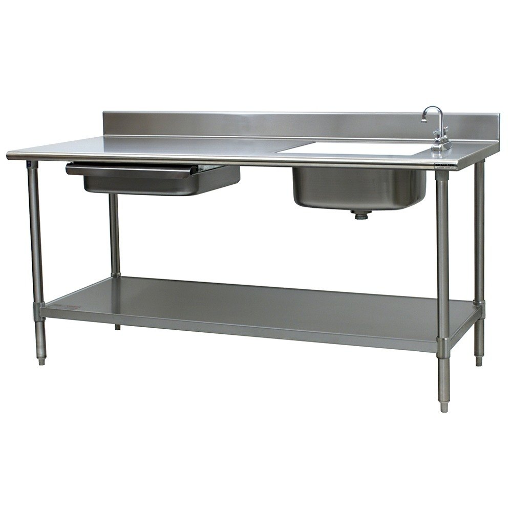 Sink on right eagle group pt 3084 stainless steel prep table with sink