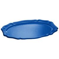 Tablecraft CW6020CBL 25 inch x 19 inch Cobalt Blue Cast Aluminum Queen Anne Oval Platter