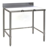 Eagle Group TB3660S 36 inch x 60 inch Poly Top Stainless Steel Trimming Table - Open Base
