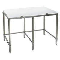 Eagle Group CT24120S 24 inch x 120 inch Poly Top Stainless Steel Cutting Table - Open Base