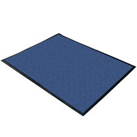 Cactus Mat 1470F-4 4' Wide Special Cut Blue Machine Washable Rubber-Backed Carpet Mat - 3/8 inch Thick