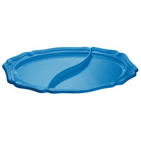 Tablecraft CW6030SBL 25 inch x 19 inch Sky Blue Cast Aluminum Queen Anne Oval Platter with Divider