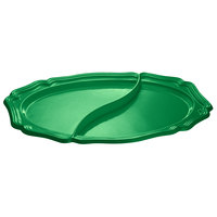Tablecraft CW6030GN 25 inch x 19 inch Green Cast Aluminum Queen Anne Oval Platter with Divider