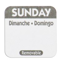 National Checking Company R107R 1 inch Sunday Day of the Week Removable Label - 1000/Roll
