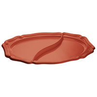 Tablecraft CW6030CP 25 inch x 19 inch Copper Cast Aluminum Queen Anne Oval Platter with Divider