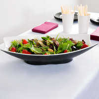 Tablecraft MB184BKW Frostone 3.8 Qt. Black and White Pebbled Melamine Bowl