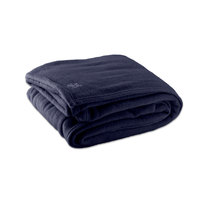 Fleece Hotel Blanket - 100% Polyester - Navy Blue Twin 66 inch x 90 inch - 4/Case