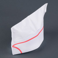Royal Paper RPOS1A White Paper Overseas Cap with Red Stripe - 100/Box