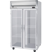 Beverage Air HRPS2-1G-LED 2 Section Glass Door Reach-In Refrigerator - 49 cu. ft., SS Exterior and Interior