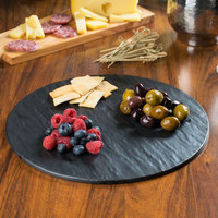 Tablecraft MG13 Frostone 13 inch Round Faux Slate Melamine Display Tray