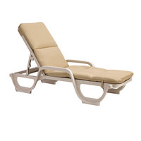 Grosfillex 98234131 Beige Chaise Cushion with Hood   - 6/Pack
