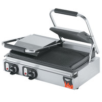 Vollrath 40795-C 19 inch x 9 1/8 inch Grooved Top & Bottom Double Panini Sandwich Grill - 220V (Canadian Use Only)