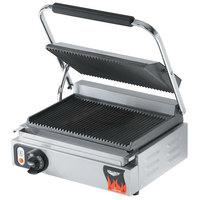 Vollrath 40794-C 13 1/2 inch x 9 1/8 inch Grooved Top & Bottom Single Panini Sandwich Grill - 120V (Canadian Use Only)