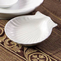 CAC SD-4 4 inch Bright White China Shell-Shaped Dish - 36/Case