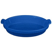 Tablecraft CW1380BS 1.5 Qt. Blue Speckle Cast Aluminum Small Shallow Oval Casserole Dish
