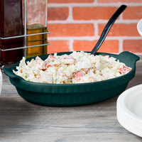 Tablecraft CW1380HGNS 1.5 Qt. Hunter Green with White Speckle Cast Aluminum Small Shallow Oval Casserole Dish