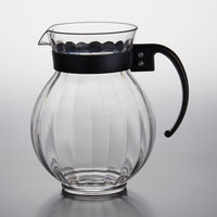 GET P-4091 90 oz. Customizable Tahiti Clear Plastic Pitcher with Black Handle