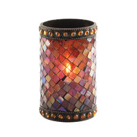 Sterno Products 80108 4 3/4 inch Amber Beaded Mosaic Liquid Candle Holder