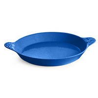 Tablecraft CW2140BL 3 Qt. Cobalt Blue Round Au Gratin Dish with Handles