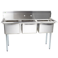 Regency 60 inch 16-Gauge Stainless Steel Three Compartment Commercial Sink without Drainboards - 17 inch x 17 inch x 12 inch Bowls