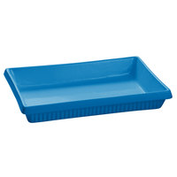 Tablecraft CW2080FSBL 2 Qt. Sky Blue Cast Aluminum Rectangular Flat Bottom Casserole Dish