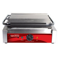 Avantco P78 Commercial Panini Sandwich Grill with Grooved Plates - 13 inch x 8 3/4 inch Cooking Surface - 120V, 1750W