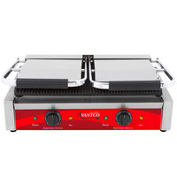 Avantco P84 Double Grooved Commercial Panini Sandwich Grill - 18 3/16 inch x 9 1/16 inch Cooking Surface - 120V, 3500W
