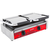 Avantco P84 Double Commercial Panini Sandwich Grill with Grooved Plates - 18 3/16 inch x 9 1/16 inch Cooking Surface - 120V, 3500W