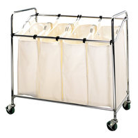 Chrome Laundry Cart, Four Compartment Cart with Canvas Bags