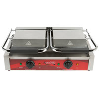 Avantco P88SG Double Grooved Top and Smooth Bottom Commercial Panini Sandwich Grill - 18 3/16 inch x 9 1/16 inch Cooking Surface - 120V, 3500W
