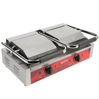 Avantco P88SG Double Commercial Panini Sandwich Grill with Grooved Top and Smooth Bottom Plates - 18 3/16 inch x 9 1/16 inch Cooking Surface - 120V, 3500W