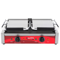 Avantco P85S Double Smooth Top & Bottom Commercial Panini Sandwich Grill - 18 3/16 inch x 9 1/16 inch Cooking Surface - 120V, 3500W