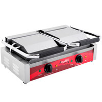 Avantco P85S Double Commercial Panini Sandwich Grill with Smooth Plates - 18 3/16 inch x 9 1/16 inch Cooking Surface - 120V, 3500W