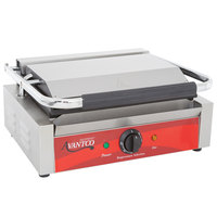 Avantco P70S Commercial Panini Sandwich Grill with Smooth Plates - 13 inch x 8 3/4 inch Cooking Surface - 120V, 1750W
