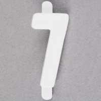 3/4 inch White Molded Plastic Number 7 Deli Tag Insert - 50/Set