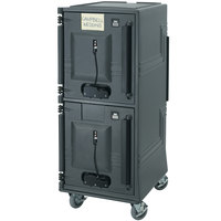 Cambro CMBPTH615 Charcoal Gray Electric Combo Cart Plus with Standard Casters, Top Compartment Heated - 110V