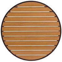 BFM Seating PH36RTKBLU Longport 36 inch Round Outdoor / Indoor Tabletop with Black Frame - Synthetic Teak
