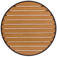 BFM Seating PH32RTKBLU Longport 32 inch Round Outdoor / Indoor Tabletop with Black Frame - Synthetic Teak